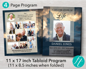 4 Page Sky Funeral Program Template (11 x 17 inches)