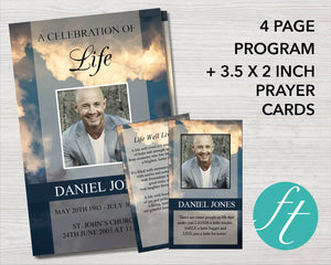 4 Page Sky Funeral Program Template + Prayer Card