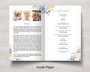 4 Page Spring Bloom Funeral Program Template