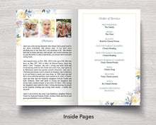 4 Page Spring Bouquet Funeral Program Template