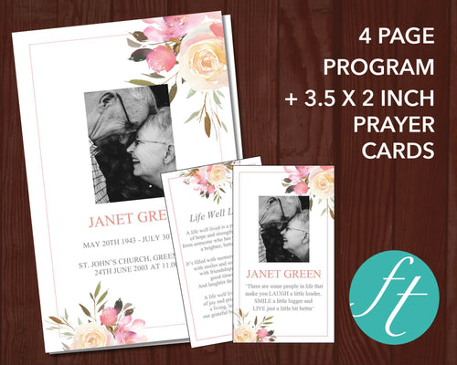 Memorial program template with floral pink floral design editable with MS Word