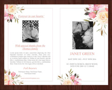 4 Page Spring Flowers Funeral Program Template + Prayer Card