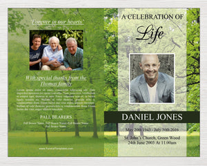 Funeral program for men with editable text and photos. Simply download the funeral template, edit and print.