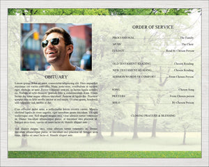 Celebration of life program template with woodland design.