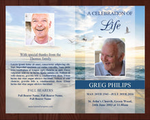 4 page memorial program with matching prayer card