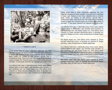 4 page memorial template with matching prayer card with beach design