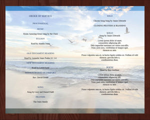 4 Page memorial program template with matching funeral prayer card
