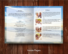 8 Page Beach View Funeral Program Template (11 x 17 inches)