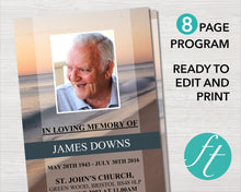 8 page funeral program template with beach wave design
