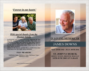 8 page memorial program with beach wave design