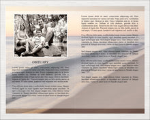 8 page obituary template with beach wave design