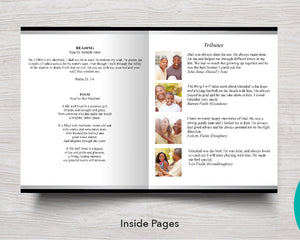 8 Page Black & Silver Funeral Program Template (11 x 17 inches)