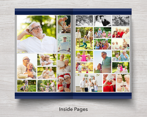 Photo collages in 8 page funeral program for men
