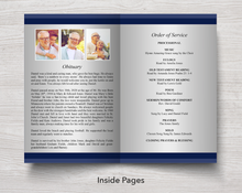 Obituary template in 8 page program for men