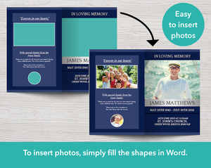 Easy to insert photo collages in blue classic program for Men