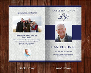 8 Page Classic Damask Funeral Program Template