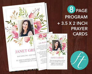 8 Page Floral Burst Funeral Program Template + Prayer Card