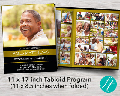 8 Page Golden Funeral Program Template (11 x 17 inches)