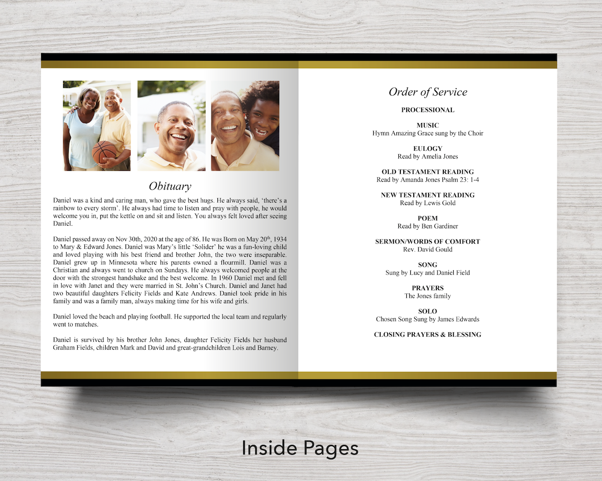 8 Page Golden Funeral Program Template 11 X 17 Inches Funeral Templates