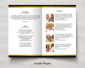 8 Page Golden Funeral Program Template