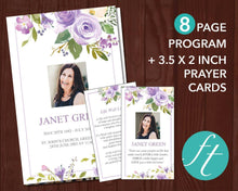 8 page watercolor floral funeral program plus matching funeral prayer card