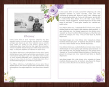 8 page obituary template with purple floral design