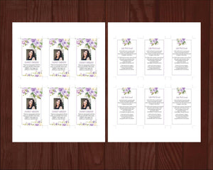 Editable funeral prayer card with lilac floral design