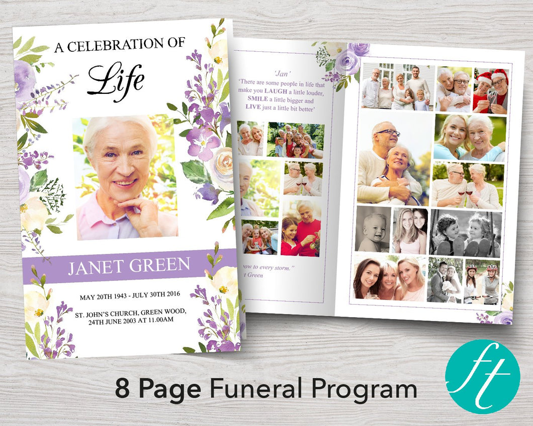 8 Page Lilac Display Funeral Program Template