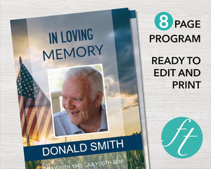 8 page military style funeral program with American flag design