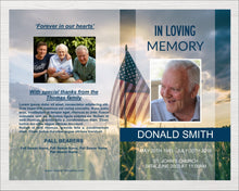 8 page funeral program template with American flag design.