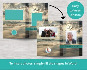 8 page funeral program template with easy to insert photos