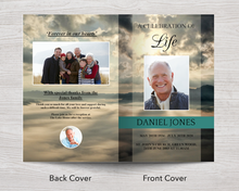 Front and back cover for 8 page funeral program template