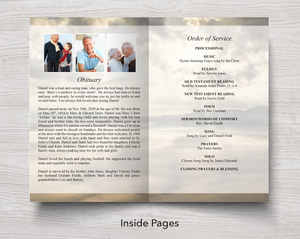 Obituary template in 8 page funeral program template