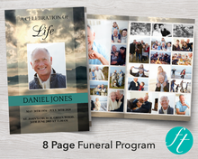 8 page funeral program template for men