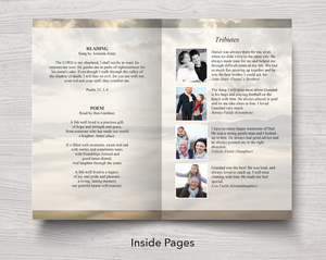 Text and tributes in 8 page funeral program template for men