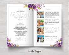 8 Page Peonies Corners Funeral Program Template