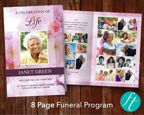 8 Page Pink Blossom Funeral Program Template