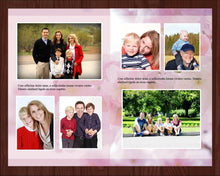Memorial program template with editable text and photos.