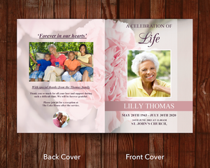 8 Page Pink Carnations Funeral Program Template (11 x 17 inches)