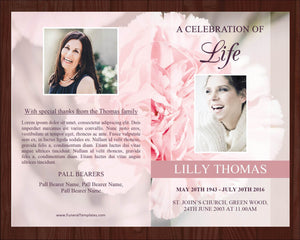 8 Page Pink Carnations Funeral Program Template + Prayer Card