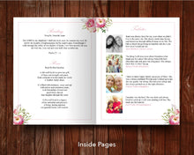 8 Page Pink Floral Funeral Program Template (11 x 17 inches)