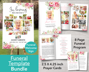 8 Page Pink Floral Funeral Program + Welcome Sign & Prayer Card