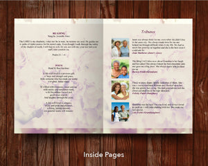 8 Page Pink Petals Funeral Program Template (11 x 17 inches)
