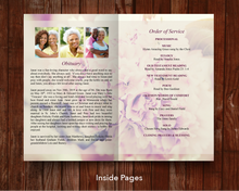 Obituary template for pink petals funeral program for women