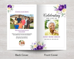 8 Page Purple Bloom Funeral Program + Welcome Sign & Prayer Card