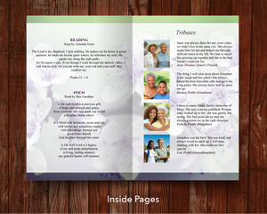 Purple and green floral funeral program inside pages
