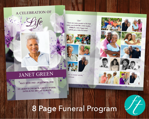 8 Page Purple Blossom Funeral Program Template