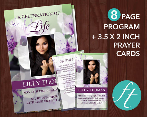 8 Page celebration of life program plus matching Prayer Card with purple blossom design