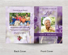 8 Page Purple Flowers Funeral Program Template (11 x 17 inches)