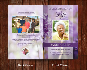 8 Page Purple Flowers Funeral Program Template